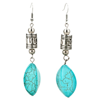 Earrings - vintage irregular turquoise dangle fish hook glam earrings Image.