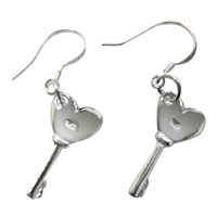 Earrings - classci 925  sterling silver heart key dangle fish hook earrings Image.