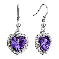 Earrings - heart clear crystal february birthstone tanzanite swarovski crystal dangle fish hook earrings Image.
