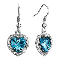 Earrings - blue swarovski swarovski crystal heart of the ocean aquamarine titanic dangle fish hook earrings Image.