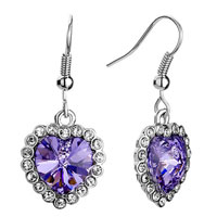 Earrings - heart clear detailed swarovski crystal light tanzanite austrian dangle fish hook earrings Image.
