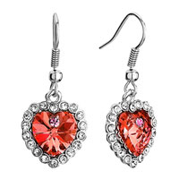 Earrings - silver swarovski crystal heart of the ocean padparadscha rhinestone dangle titanic fish hook earrings Image.