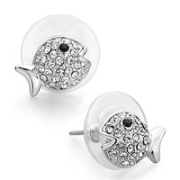 Earrings - pave clear crystal black eye cute fish stud earrings silver tone Image.