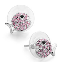 Earrings - mothers day gifts swarovski crystal cute fish october birthstone rose crystal black eye stud earrings Image.