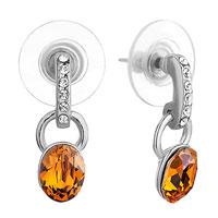 Earrings - swarovski crystal loop november birthstone topaz crystal oval dangle fish hook earrings Image.
