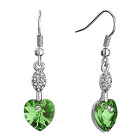 Earrings - swarovski crystal oval crystal august birthstone peridot heart dangle fish hook earrings Image.