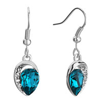 Earrings - swarovski crystal inverted drop crystal indicolite rhinestone dangle fish hook earrings Image.