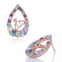 Earrings - mothers day gifts swarovski crystal golden drop multicolored rhinestone crystal crown stud earrings Image.
