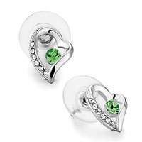 Earrings - mothers day gifts heart clear crystal august birthstone peridot swarovski crystal stud earrings Image.