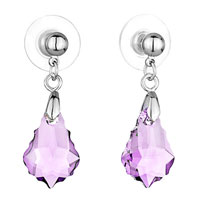 Earrings - mothers day gifts classic june birthstone light amethyst swarovski crystal crystal baroque drop dangle earrings Image.