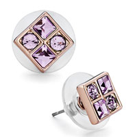 Earrings - mothers day gifts rose gold square violet swarovski crystal stud earrings Image.