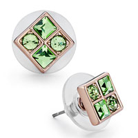 Earrings - mothers day gifts rose gold square august birthstone peridot swarovski crystal stud earrings Image.