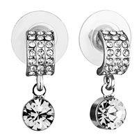 Earrings - mothers day gifts half circle clear crystal dangle swarovski crystal earrings Image.