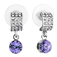 Earrings - mothers day gifts half circle clear crystal dangle violet swarovski crystal earrings Image.