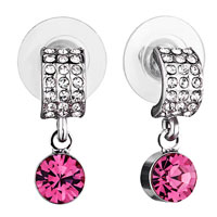Earrings - mothers day gifts half circle clear crystal dangle october birthstone rose swarovski crystal earrings Image.