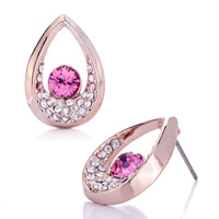 Earrings - mothers day gifts rose gold drop clear crystal october birthstone swarovski crystal stud earrings Image.