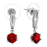 Earrings - clear crystal slim rhombus dangle july birthstone light siam round earrings Image.