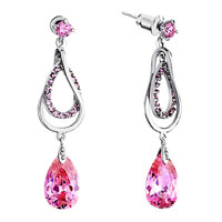 Earrings - round dangle drop detailed crystal october birthstone light rose earrings Image.