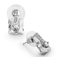 Earrings - metal detailed crystal april birthstone clear square stud earrings Image.