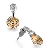 Earrings - inverted drop detailed crystal& base light peach rhinestone round stud earrings Image.