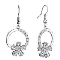 Earrings - ring april birthstone clear crystal flower half detailed dangle fish hook earrings Image.