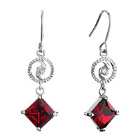 Earrings - silver ring clear crystal dangle july birthstone ruby square fish hook earrings Image.