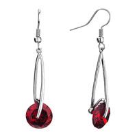 Earrings - silver metal january birthstone siam crystal round dangle fish hook earrings Image.