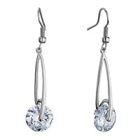 Earrings - silver metal april birthstone clear crystal round dangle drop fish hook earrings Image.