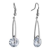 Earrings - silver metal april birthstone clear crystal round dangle drop fish hook earrings Image.