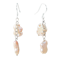 Earrings - chip stone earrings pearl dangle fish hook earrings Image.
