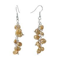 Earrings - chip stone earrings yellow pearl dangle fish hook earrings Image.