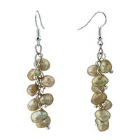 Earrings - chip stone earrings green pearl dangle fish hook earrings Image.