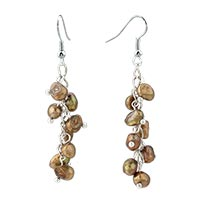 Earrings - chip stone earrings brown pearl dangle fish hook earrings Image.