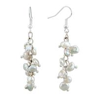 Earrings - chip stone earrings white pearl dangle gorgeous fish hook earrings Image.