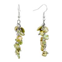 Earrings - chip stone earrings green pearl dangle gorgeous fish hook earrings Image.