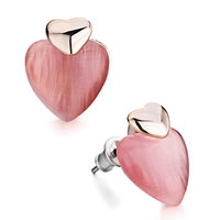 Earrings - golden heart pink murano glass stud earrings Image.
