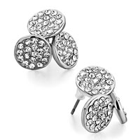 Earrings - fashion triple round april birthstone clear crystal stud earrings Image.