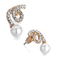 Earrings - swirl april birthstone clear crystal white pearl stud fancy earrings Image.