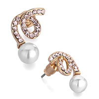 Earrings - gleaming swirl silk rhinestone crystal white pearl stud earrings Image.