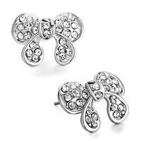 Earrings - silver bowknot april birthstone clear crystal stud earrings Image.
