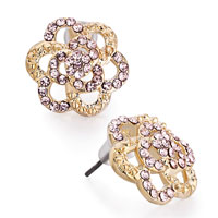 Earrings - golden flower vintage rose rhinestone crystal stud earrings Image.