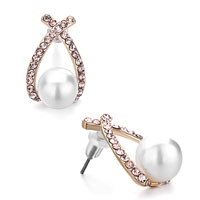 Earrings - ribbon silk rhinestone crystal white pearl stud elegant earrings Image.