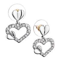 Earrings - new open heart dangle april birthstone clear crystal studearrings Image.