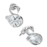 Earrings - silver/ p cute swan april birthstone clear crystal drop stud earrings Image.