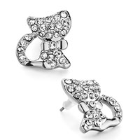 Earrings - silver cute cat april birthstone clear crystal stud earrings Image.