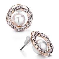 Earrings - rose bengal twined circle silk rhinestone crystal white pearl stud earrings Image.