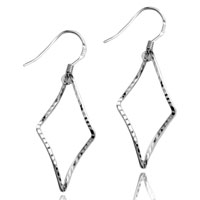 Sterling Silver Jewelry - 925  sterling silver rhombus dangle fish hook earrings Image.