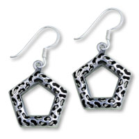 Sterling Silver Jewelry - 925  sterling silver pentagon dangle fish hook earrings Image.
