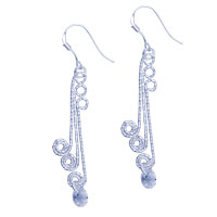 Sterling Silver Jewelry - 925  sterling silver curle dangle fish hook earrings Image.