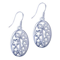 Sterling Silver Jewelry - filigree vintage antique 925  sterling silver plum blossom dangle fish hook earrings Image.